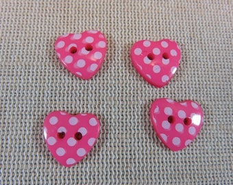 20pcs heart buttons, pink polka dots, white polka dot heart buttons 15mm, lot buttons button, resin, pink heart buttons, sewing button