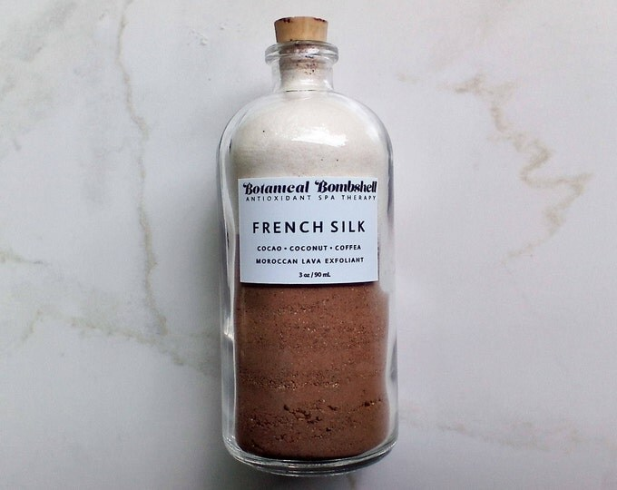 French Silk Clay /Cacao, Unroasted Coffee, Coconut, Vanilla Bean Rhassoul Clay / Exfoliating Powder / Cleansing Grains