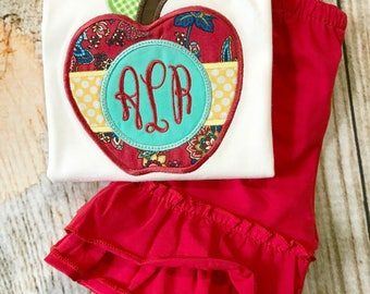 Back to School Shirt - Monogram Apple Shirt - Girls Monogrammed Apple Shirt - Personalized School Shirt - Apple Shirt - Girls School Shirt