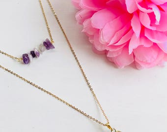 Amethyst, amethyst necklace, amethyst pendant necklace, double chip necklace, necklace chip, pendant necklace, pendant necklace pyramid