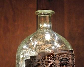 SALE! Patron Fairy Lights in Bottle / Man Cave Light / Liqour Bottle Light / Glass Bottle Lamp Alcohol Bottle Light / Western Tequila Bottle