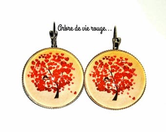 "Earrings cabochon ""tree of life red"""