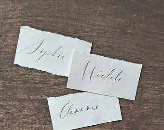 Simple calligraphy table number guest name card