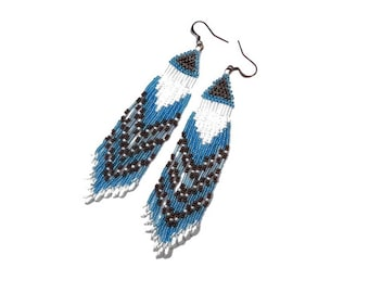 Woven ethnic Native American earrings, copper blue white fringe