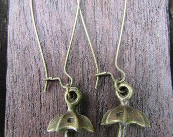 Umbrella earrings , Bronze earrings , Charm earrings , Kidney wire earrings , Dangle earrings , Gifts for her