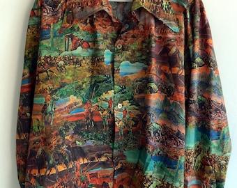 Rare 1970's Collectible USA Cowboys Indians Wild West Explorers Remington Disco Polyester Photo Print Men's Shirt XL