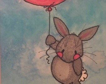 Up! Up & Away Bunny w/balloon 5x7 (matted 8x10) Original Watercolor