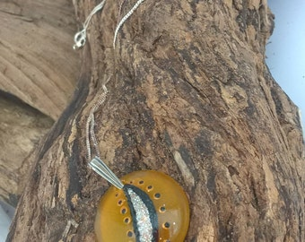 Sea Glass and Sterling Silver - Hand Painted Necklace