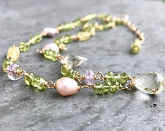 Peridot Gemstone Necklace Luxe Jewelry for Her Pink Amethyst Prasiolite Citrine Lemon Topaz Wire Wrapped Gold Filled Boho Glam Pastel Spring