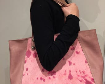 Pink-haired and smooth leather bag