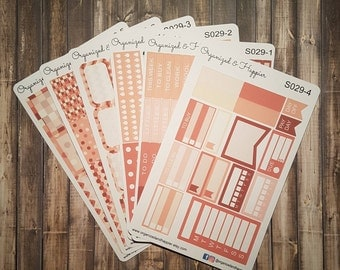Weekly Personal Sticker Full Kit Erin Condren Planner headers boxes checklist tracker washi flags vertical rose gold #S029-Rose
