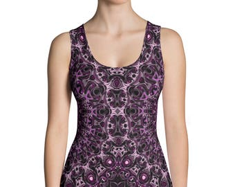 Purple and Pink Patterned Top, Womens Sleeveless Shirt, Printed Tank Top