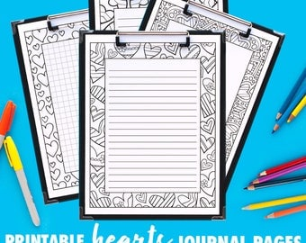 Coloring Journal Pages 10 Pack // printable journals / printable planner pages / coloring page planner inserts / digital note paper PDF