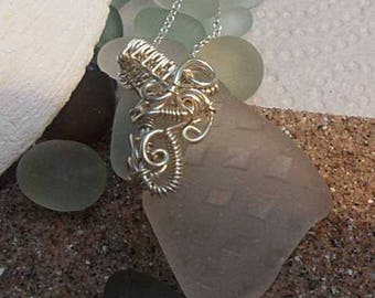 White Textured Sea Glass Necklace