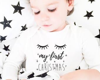 First Christmas Pajamas Bodysuit, Gift-for-Mom Christmas 2018, First Christmas Outfit, Baby Christmas Present,Sleepy Eyes, Funny Baby Onesie