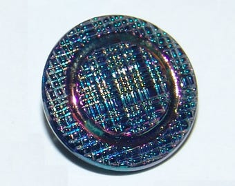 "Pretty Black Glass Button ~ Crosshatch Plaid Texture ~ 3/4""~ NOS ~ Iridescent AB Luster ~ Very Nice!"