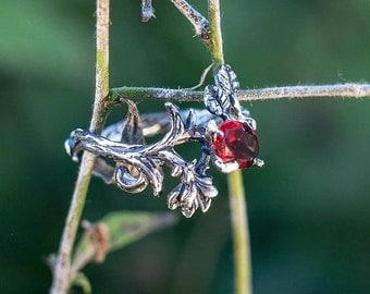 "Sterling Silver Natural Ruby Garnet Ring ""Rhiannon"". Garnet, Engagement Garnet Ring, Flower Ring, Delicate Garnet Ring, Wedding Ring,"