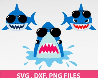 "Shark SVG, shark with sunglasses Svg, Jaws svg. DXF, PNG Formats, 8.5x11"" sheet, Printable 0065"