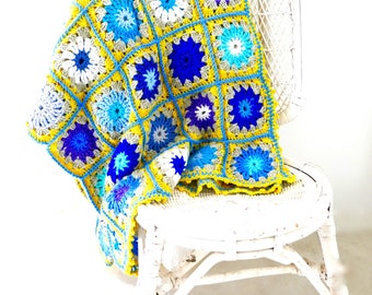 Afghan, READY TO POST, Crochet Blanket, Throw, Granny Square Blanket