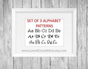 Set of Cross Stitch Alphabet Patterns, Cursive Alphabet, Basic Alphabet, Medieval Alphabet, Cross Stitch Font Pattern, Alphabet Cross Stitch