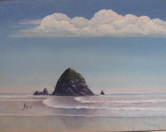 Original oil painting, Haystack Rock painting, Oregon seascape, Cannon Beach painting, Artwork of oregon coast, 9X12 inch painting