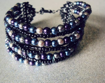 Tri-color Glass Pearl Bracelet: Purple, blue, and silver