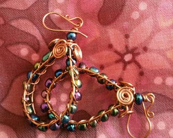 Earrings Teardrop Dangle Copper with Spirals and Beads