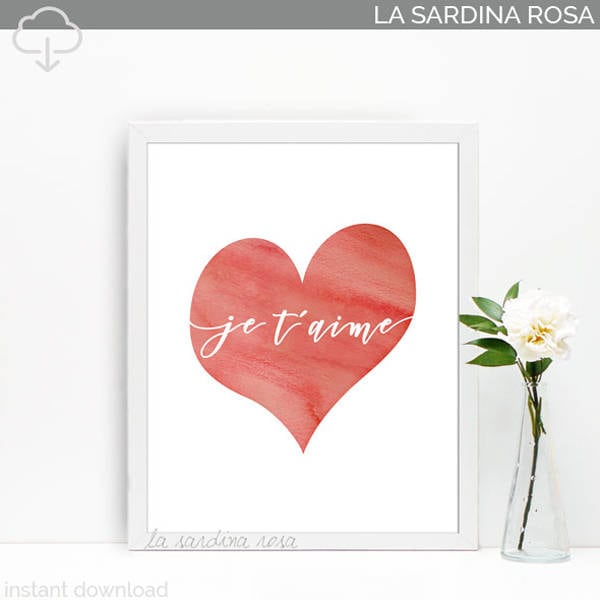 Wall Art Love Heart : Heart print decor wall art love printable je