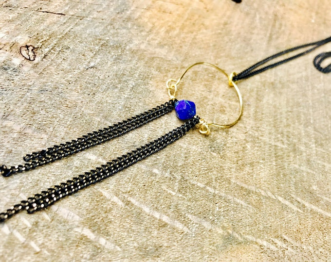 Shooting Stars Chrysocolla Stone Goddess Tassel Pendant Necklace