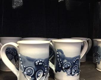 Blue ocean swirl porcelain coffee mugs