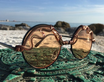 ARTiSAN Copper Bronze ROUND Unisex Mens Women's Sunglasses Eyeglasses, Festival Sunglasses, Boho Hippie Gypsy Sunglasses, SPuNGLASSES New