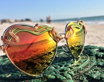 Copper Orange Reflective Sunglasses, Womens Woman Sunglasses, Boho Hippie Sunglasses, Spunglasses, Wire Wrap Sunglasses, Free Shipping NEW