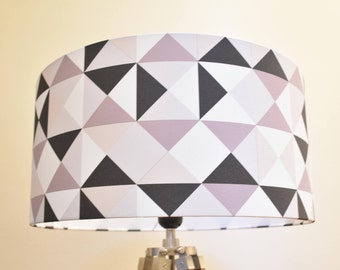 """Lampshade cylinder """"Acapulco Triangle"""" black and Beige"""