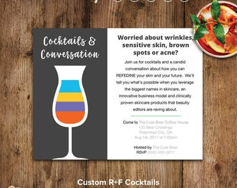 Rodan and Fields Invitations, Cocktails and Conversation Card, R and F, RF Invitation Card