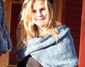 Blue christmas gift / Bridesmaid shawl / Mohair shoulder warmer / Knit oversized scarf / Nursing shawl - Silver Blue