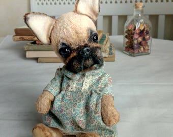 Artist teddy bear  French Bulldog Molly  OOAK   Toy by photo  Toy dog   Teddy dog   Bulldog   Dog in clothes  Portrait dog  Dog vintage Dogs