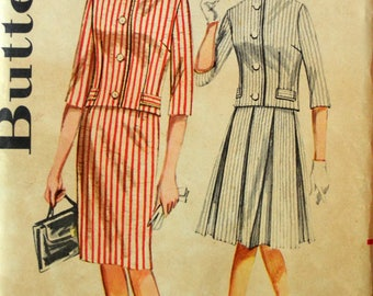 Uncut 1960s Butterick Vintage Sewing Pattern 2258, Size 16; Misses' Two Piece Outfit