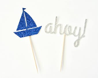 Nautical Cupcake Toppers - Set of 12