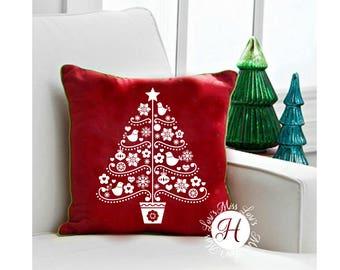 Christmas Tree Folk art Pillow design DFX  SVG stencil Cut file  Cricut explore file Wood sign Decal vinyl  wood sign t shirt cricut cameo
