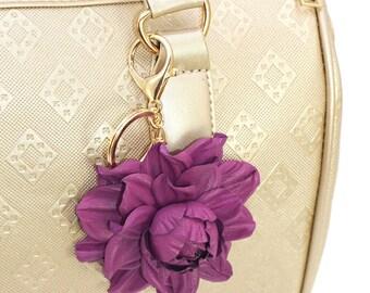 Genuine Leather Flower Bag Charm, Purple Violet Rose Bag Clip, Real Leather Purse Charm, Flower Bag Clip, Key chain Rose Clasp Handbag Charm