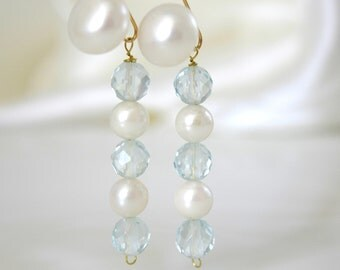 Earrings aquamarine blue quartz Akoya pearls Freshwater Pearl Gold filled