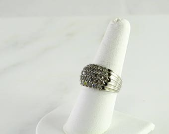 Clear Stone Sterling Statement Ring Size 7.75