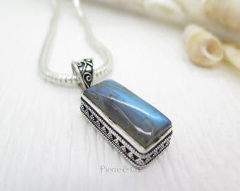 Blue Fire Labradorite Sterling Silver Pendant and Chain