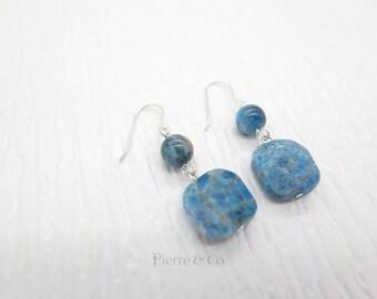 Square Chrysocolla Sterling Silver Dangle Earrings