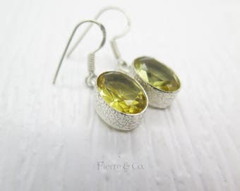 19 Carats Oval Cut Citrine Sterling Silver Earrings