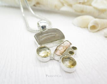 Fresh water Pearl Rutilated Quartz Citrine Sterling Silver Pendant and Chain