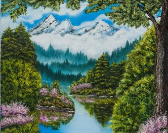 Landscape oil painting 'Labrador tea blooming', original oil painting with mountains, lake, forest and labrador tea flowers, canvas 60x100cm