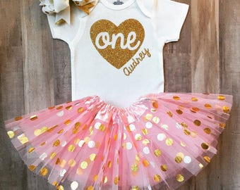 First Birthday Onesie®, Baby Girl First Birthday Outfit, 1st Birthday Onesie®, Heart and Personalized First Birthday Outfit, Pink and gold