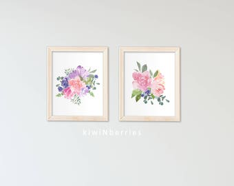 Nursery Decor - Floral Nursery Decor - Nursery wall art - Watercolor florals - Watercolor flowers - Girls nursery decor - Baby girl