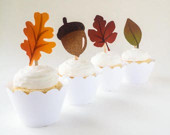 Fall Leaf Cupcake Toppers - Set of 12 – Fall Wedding Cupcake Toppers - Thanksgiving Cupcake Toppers - Ready to Ship